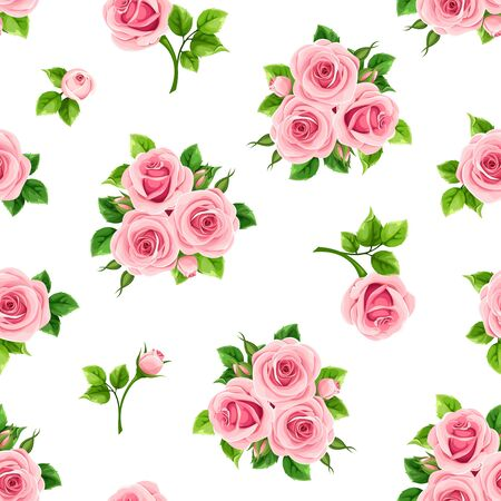 Vector seamless pattern with pink roses on a white background. Ilustração