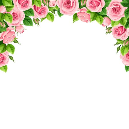 Vector background frame with pink roses.