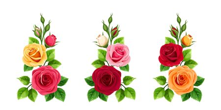 Vector set of branches of red, pink, orange and yellow roses isolated on a white background.
