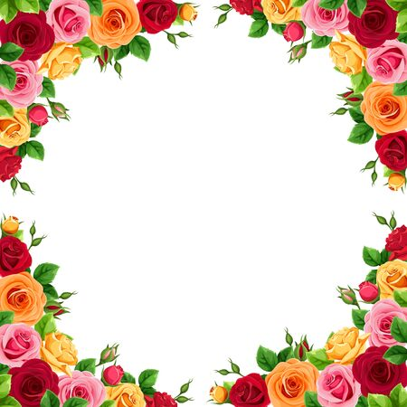 Vector frame with red, pink, orange and yellow roses.