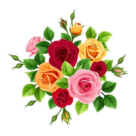 Vector bouquet with red, pink, orange and yellow roses isolated on a white background.