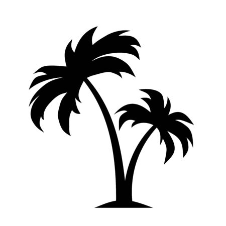 Vector black silhouette of palm trees isolated on a white background.