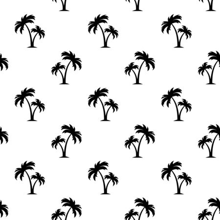 Vector black and white seamless pattern with palm trees. Ilustração