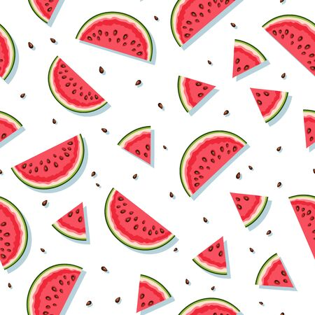 Vector seamless pattern with watermelon slices.