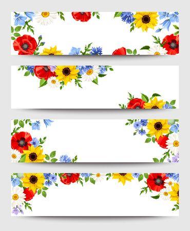 Conjunto de banners web de vector con flores de colores.