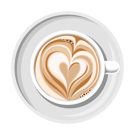 Cup of coffee with heart shape on top isolated on a white background. Top view. Ilustração