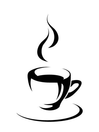 Vector silhouette noire de tasse de thé ou de café chaud isolé sur fond blanc.