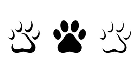 Animal paw prints isolated on a white background. Set of vector black silhouettes.