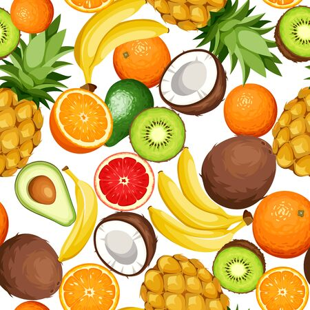 Vector seamless background with tropical fruit (avocado, banana, coconut, kiwi, orange, pineapple).