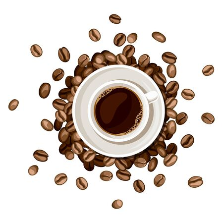 Cup of coffee and coffee beans. Top view. Vector illustration.