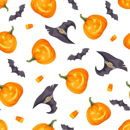 Vector Halloween seamless background with jack-o-lanterns, bats and witches hats on white.
