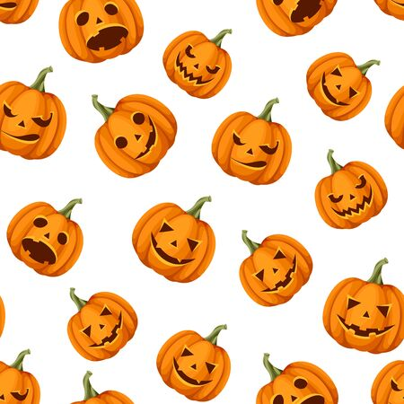 Vector seamless pattern with Jack-O-Lanterns (Halloween pumpkins) on a white background.