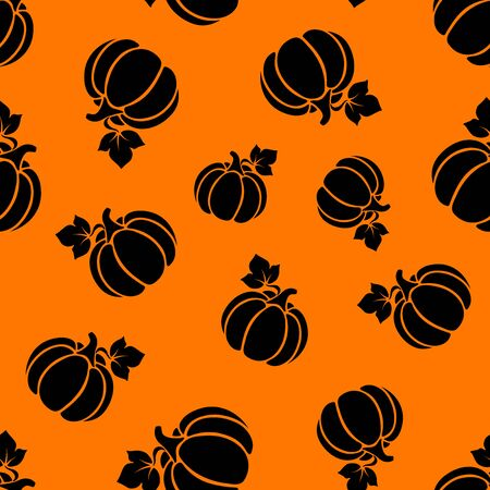 Vector seamless pattern with black silhouettes of pumpkins on an orange background.