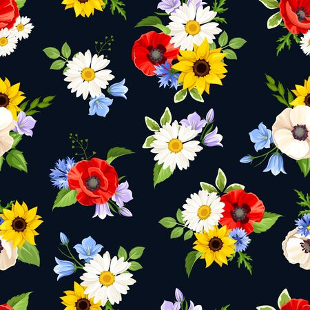 Vector seamless pattern with colorful flowers on a dark blue background.