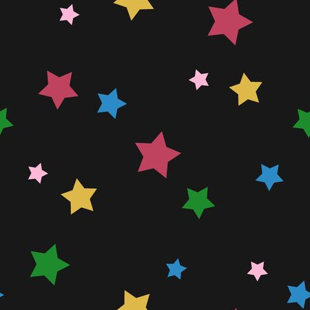 Vector seamless pattern with colorful stars on a black background.