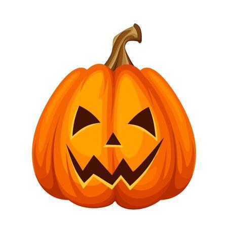 Wektor Jack-O-Lantern (dynia Halloween) na białym tle na białym tle.