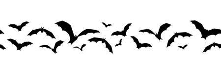 Vector horizontal seamless background with bats on a white background.