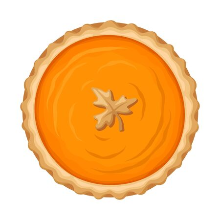 Vector pumpkin pie isolated on a white background.