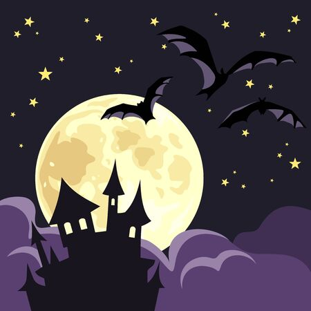 Vector Halloween illustration with a castle, moon and bats.