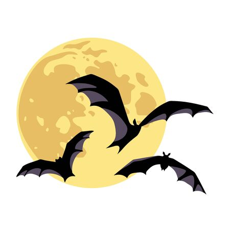 Vector illustration of a moon and bats isolated on a white background.