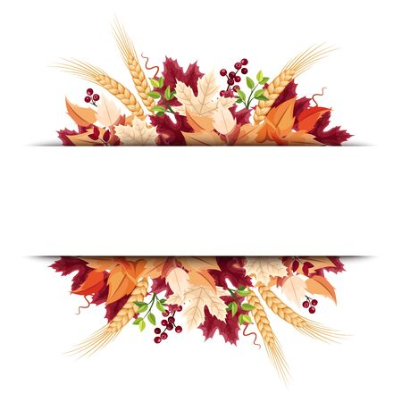 Vector background banner with orange, purple and beige autumn leaves. Ilustração