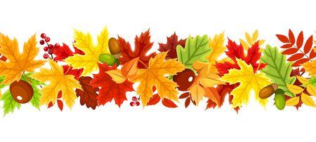 Fondo senza cuciture orizzontale di vettore con foglie autunnali rosse, arancioni, gialle, verdi e marroni.