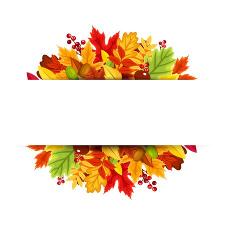 Vector background banner with red, orange, yellow, green and brown autumn leaves.