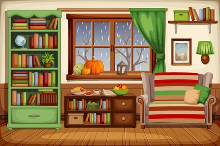 Vector illustration of a cozy autumn living room interior with a sofa, a bookcase and rain outside the window. Ilustração