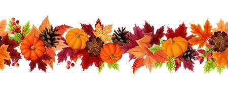 Fondo senza cuciture orizzontale di vettore con zucche arancioni, pigne e foglie autunnali colorate.