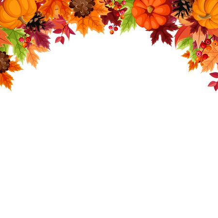 Vector background with orange pumpkins, pinecones and colorful autumn leaves.