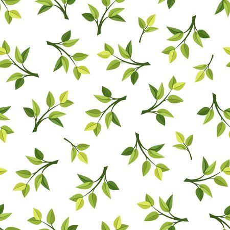 Vector seamless pattern with green leaves on a white background.
