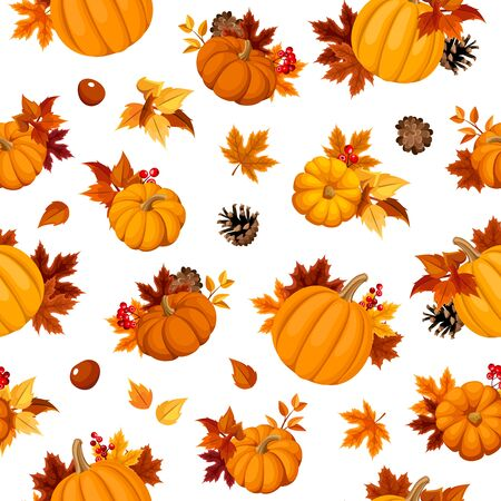 Vector seamless pattern with orange pumpkins, autumn leaves, pinecones and chesntuns on a white background.