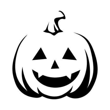 Black silhouette of Jack-O-Lantern (Halloween pumpkin) isolated on a white