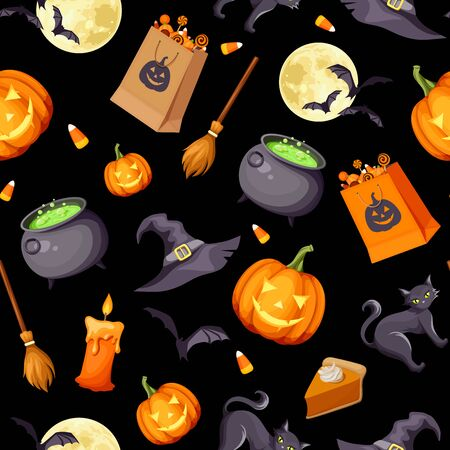 Vector Halloween seamless background with jack-o-lanterns, cats, bats, cauldrons, witches hats, candles, brooms and candies on black. Ilustração