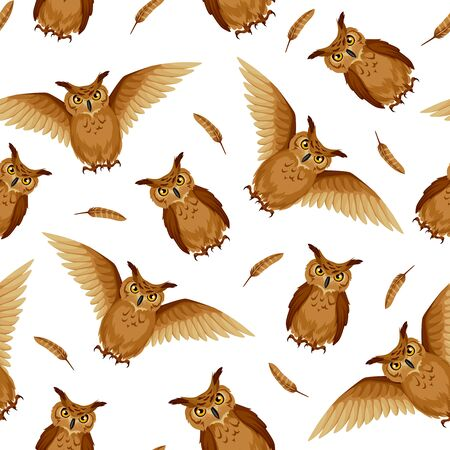 Vector seamless background with brown owls and owl feathers on a white background. Ilustração