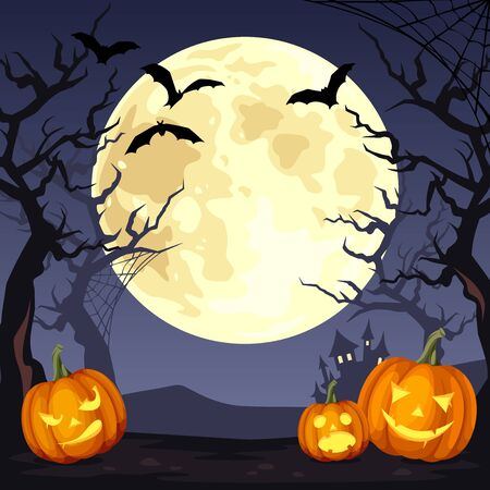 Vector Halloween night background with Jack-O'-Lanters, the Moon, bats and trees.
