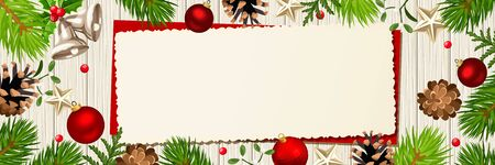 Vector horizontal Christmas banner with fir branches, balls, cones and mistletoe on a wooden background. Ilustração