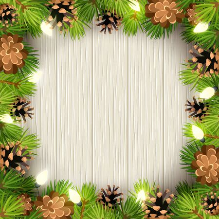 Vector Christmas frame with green fir tree branches, lights and cones on a wooden background.