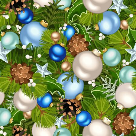Vector Christmas seamless background with blue, green and silver decorations. 向量圖像