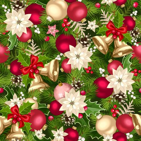 Vector Christmas seamless background with red, pink and gold decorations.