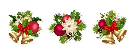 Set of three vector Christmas decorations with red and gold balls, bells, poinsettia flowers, fir-tree branches, cones, holly and mistletoe isolated on a white background. 向量圖像