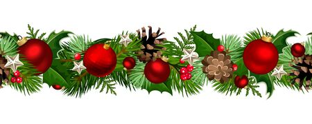 Vector Christmas horizontal seamless garland with fir-tree branches, red balls, holly and pinecones.