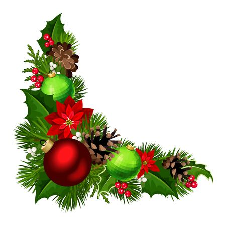 Vector Christmas decorative corner background with red and green balls, fir-tree branches, poinsettia flowers, pinecones, holly and mistletoe. Ilustración de vector