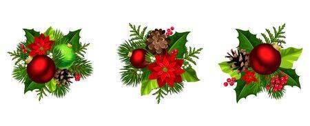 Zestaw trzech ozdób choinkowych wektorowych z czerwonymi i zielonymi kulkami, kwiaty poinsecji, gałęzie jodły, szyszki, ostrokrzew i jemioła na białym tle na białym tle.