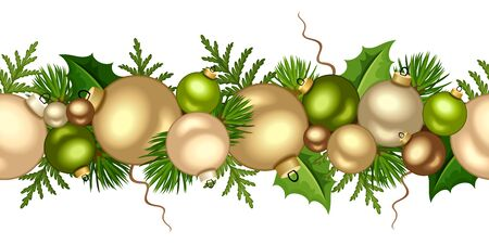 Vector Christmas horizontal seamless garland with gold and green balls and fir-tree branches.