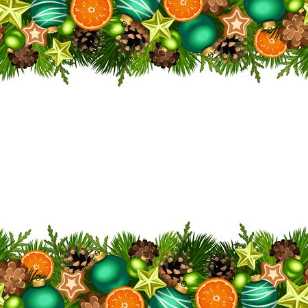 Vector Christmas horizontal seamless background with fir branches, green balls, cones, stars, oranges and gingerbread cookies.