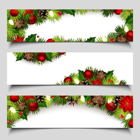 Set of vector Christmas web banners with fir-tree branches, red balls, cones, poinsettia and lights.
