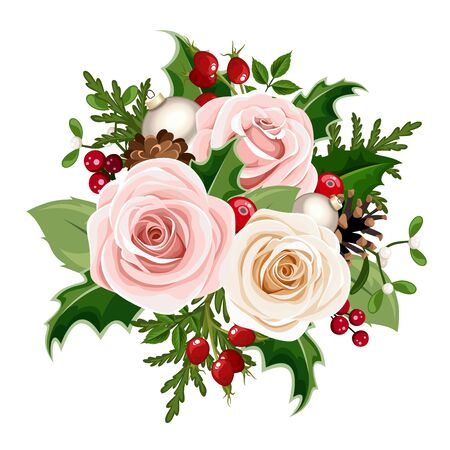 Vector Christmas bouquet with pink and white roses, balls, rosehip berries, holly, fir branches and cones isolated on a white background. Ilustração
