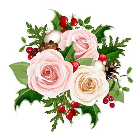 Wektor świąteczny bukiet z róż i białych róż, kulki, owoce dzikiej róży, holly, gałęzie jodły i szyszki na białym tle na białym tle.