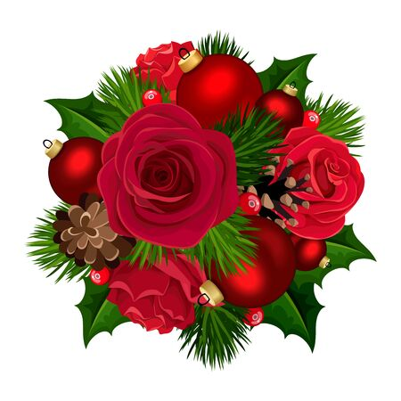 Vector Christmas bouquet with red roses, balls, holly, fir branches and cones isolated on a white background.
